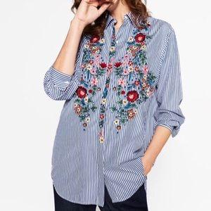 Zara Woman Floral Embroidered Boyfriend Button Up